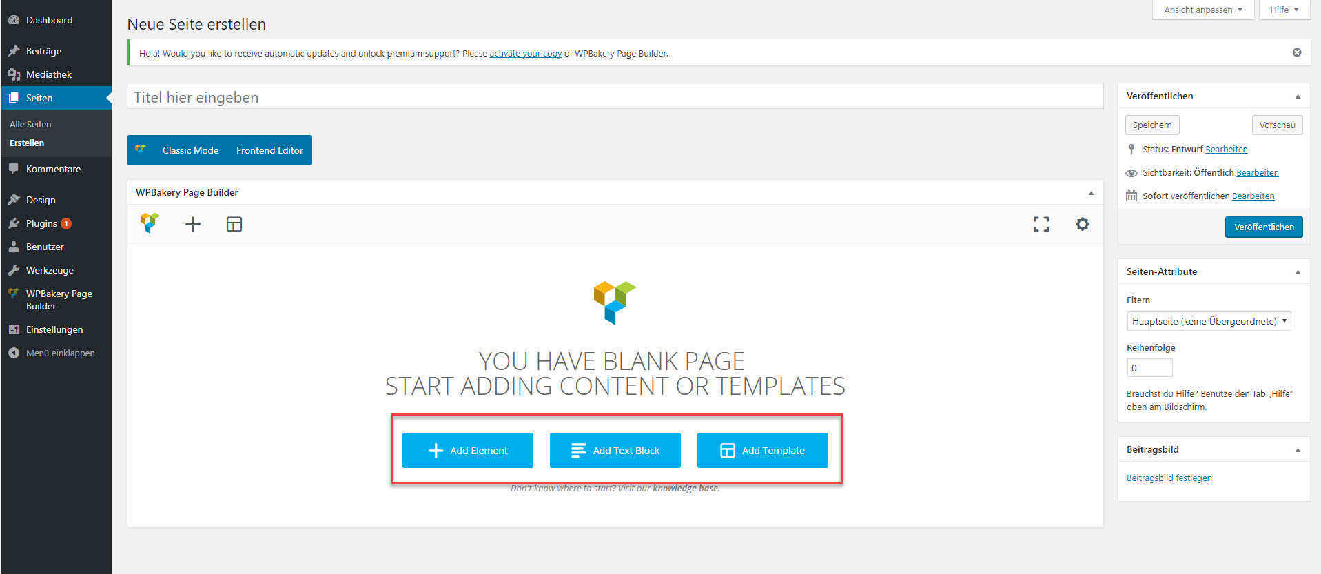Erste Schritte beim erstellen einer Seite mit dem VC.