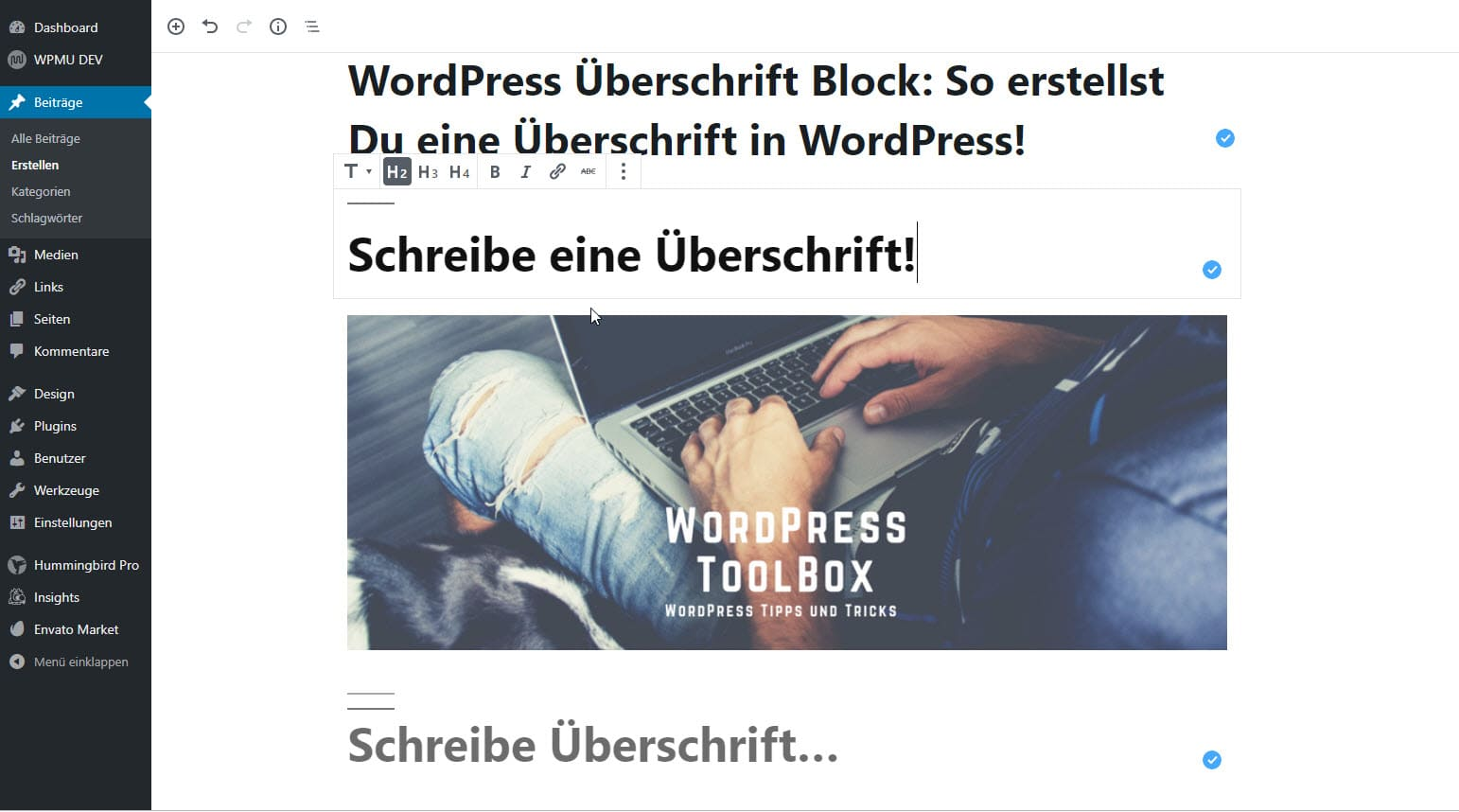 Überschrift WordPress