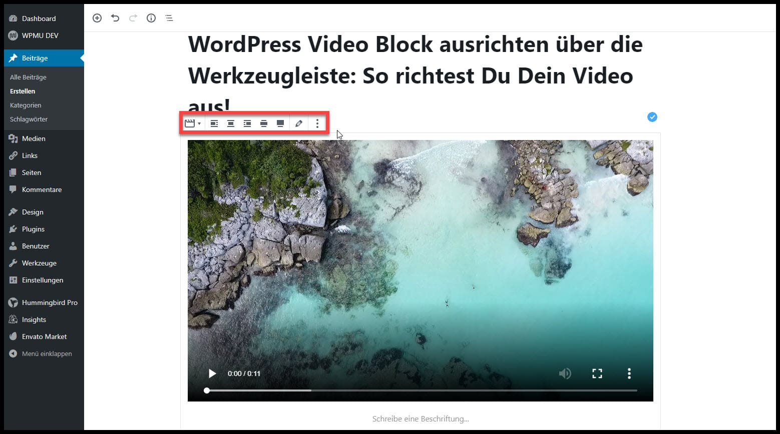 Video ausrichten WordPress
