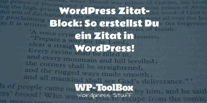 Zitat Block in WordPress