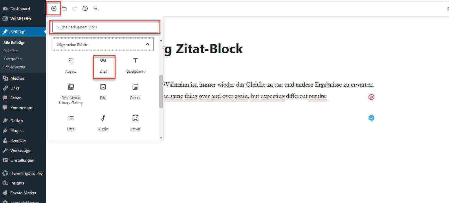 Zitat in WordPress