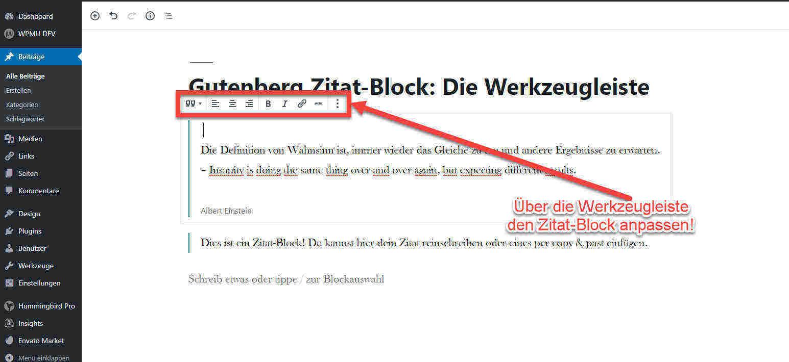 Werkzeugleiste Zitat-Block