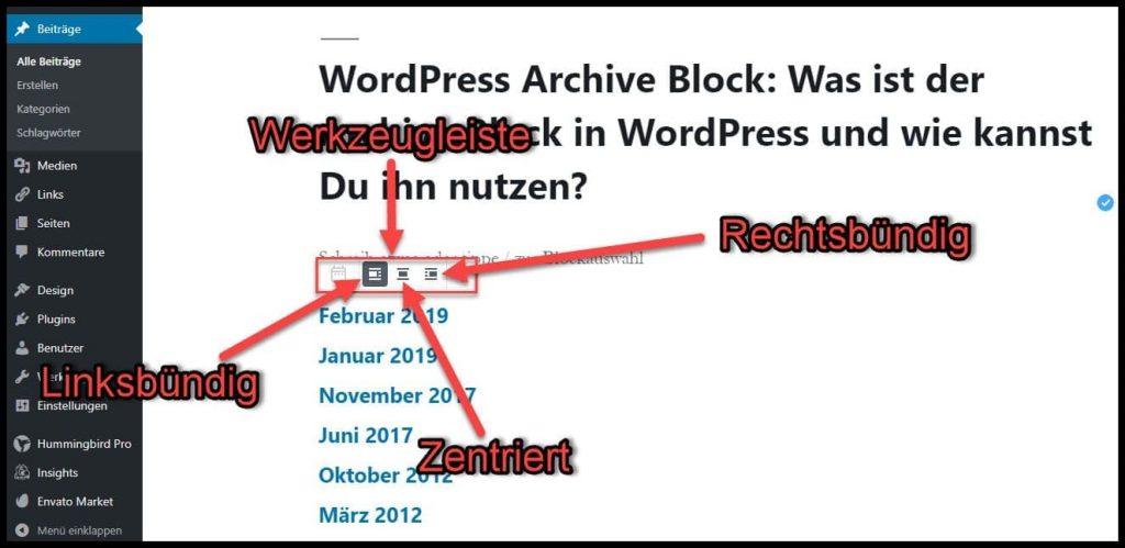 Archive im Beitrag oder der Seite ausrichten! Archive Linksbündig, Rechtsbündig oder Zentriert darstellen.