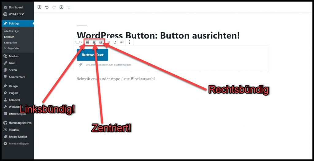 Button ausrichten mit WordPress