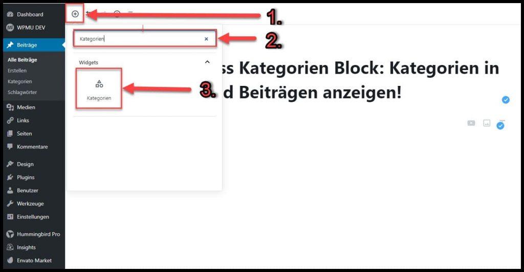 So fügst Du einen Kategorien Block in WordPress Beiträge und Seiten ein.