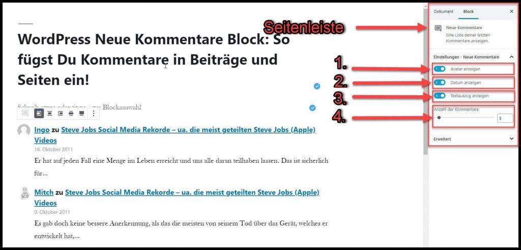 Diese Einstellungsmöglichkeiten stehen für den Neue-Kommentare-Block in der Seitenleiste zur Verfügung...