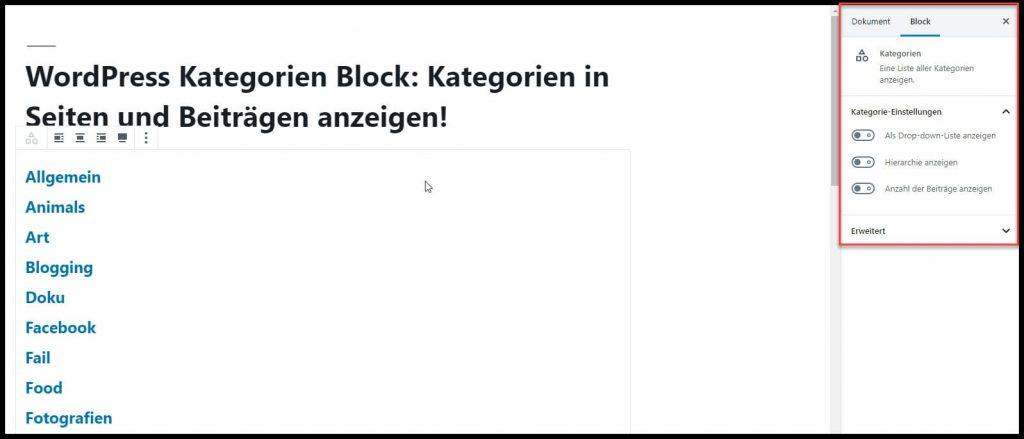 Diese Einstellung gibt es für den Kategorien-Block in WordPress!