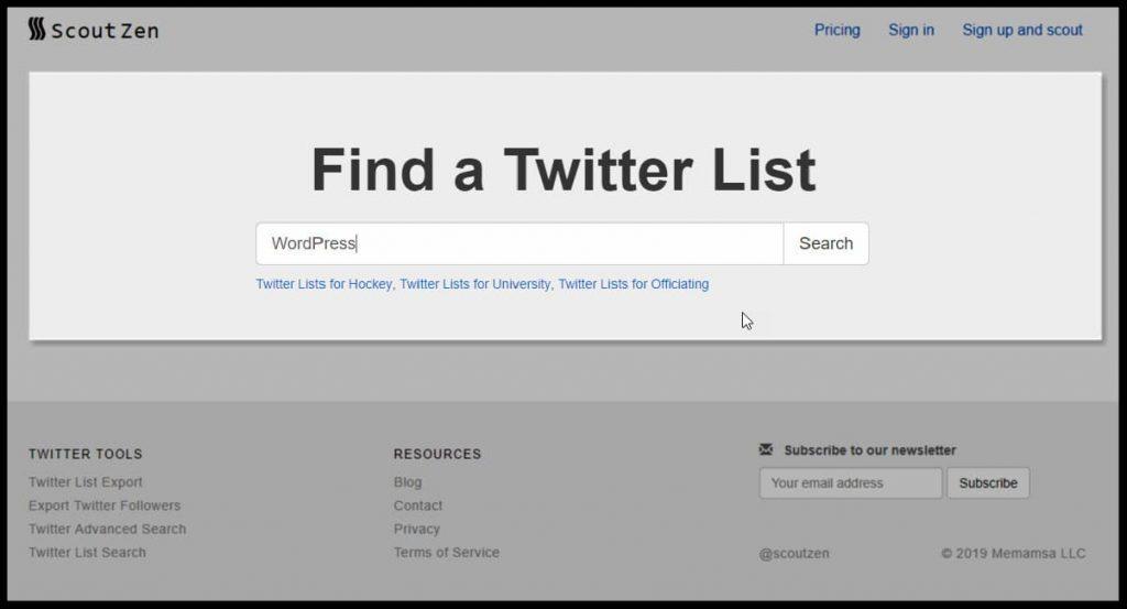 Mit dieser Suchmaschine einfach nach Twitter Listen suchen.